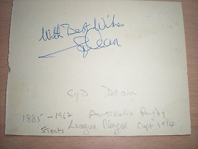 Original Signature of The Australian Rugby League Player SID DEAN (1885-1967)