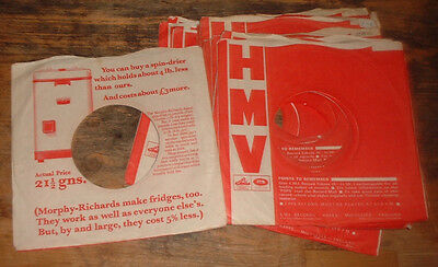 original 2 x HMV HIS MASTERS VOICE RED RECORDS company sleeveS SPIN DRIER faults