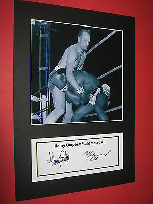 Muhammad Ali & Henry Cooper Boxing A4 Photo Mount Signed Pre-Printed