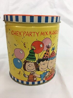 """Vintage 'Chex' Party Mix """"Peanuts Gang"""" 40th Anniversary Metal Tin w/ Lid"""