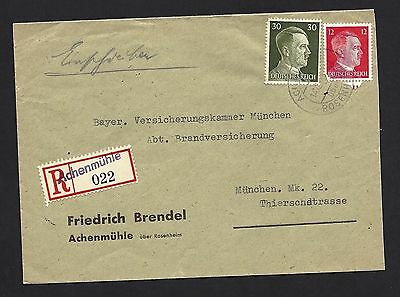 1943 Germany Reg Cover From Achenmuhle To Munich w HBF Back Stamp