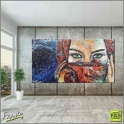 Huge Textured Urban Art Green Eyes Painting Canvas 190cmx100cm Franko Australia