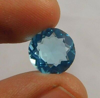5 Cts.  TREATED FACETED ROUND SHAPE SWISS BLUE TOPAZ QUARTZ CUT GEMSTONE (NC580)