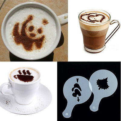 Easy 16Pcs Coffee Latte Art Stencils DIY Decorating Cake Cappuccino FoamTool CN