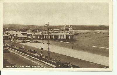 Pier And Bandstand, Weymouth. 104. . Sepia Vintage Postcard.