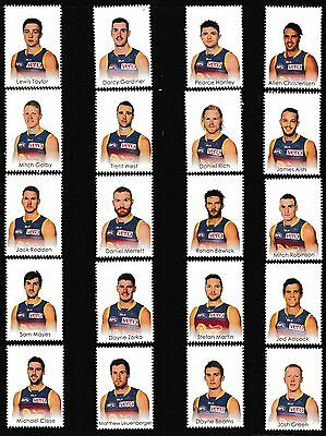 AFL 2015 Brisbane Lions footy players 20 stamp tabs & captain collector card