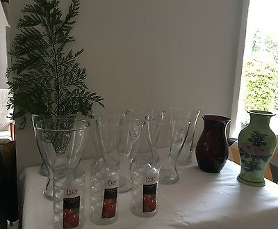 Collection 9 bulk mixed Vases & Floating Candle Holders vintage rustic wedding