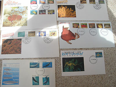 6 x Australian First Day Covers Marine Life & Whales