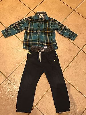 Boys Outfit Checked Shirt And Trousers From Next Age 18-24 Months (1.5-2 Years)