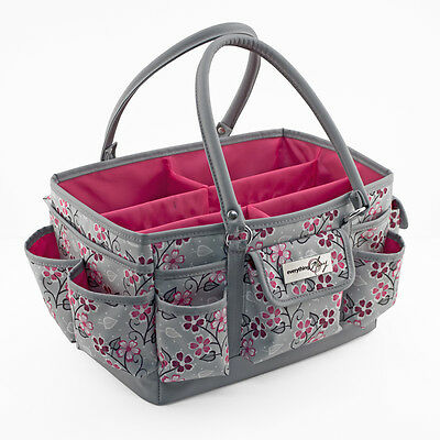 Everything Mary Deluxe Store Tote Organiser | Grey/Pink Flower |  EVM9152-9