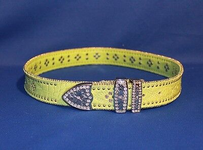 Lime Green Genuine Leather Women's Western Belt with Plenty of Bling - size M