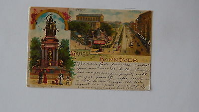 Gruss aus Hanover.Original old Litography from 1902.Trams with Horses !