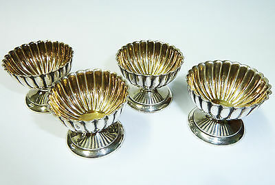 Antique Matching Set of Four Solid Silver Hallmarked Salts 1890 Robert Stebbings