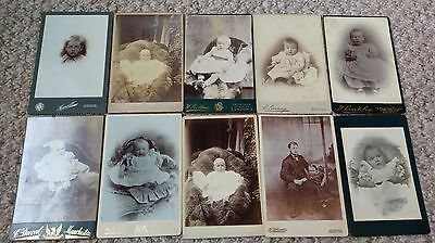Job Lot Bulk Collection 10 Vintage Old Photo Cabinet Cards People Children Baby