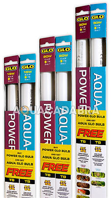 POWER GLO with FREE AQUA GLO LIGHT BULBS T8 LIGHTING AQUARIUM FISH TANK
