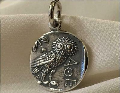 Athenian Owl coin pendant handmade in Greece sterling silver