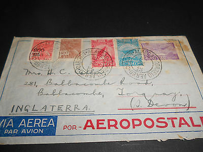 AIR MULTISTAMPED 1930 COVER WITH 5000r AIR STAMP..STAIN TOP RIGHT(1623)