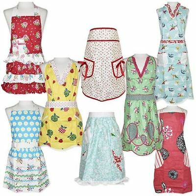 New Ladies Vintage 50's Style Cooking Apron Full Length or Waist Tie 5 Styles