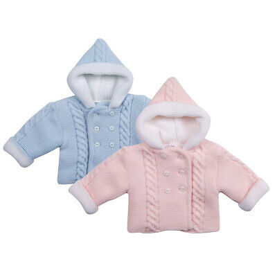 Baby Babies Girls Boys Pram Coat Hooded Cardigan Chunky Knitted Thick Warm Soft