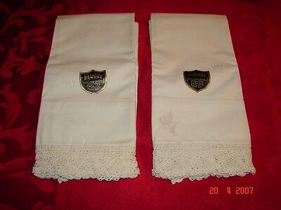 """2 Vintage PEQUOT Pillow Cases with Lace Edge 45"""" x 36"""" Unused with Labels"""