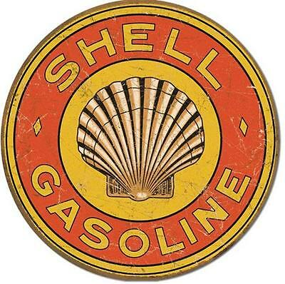 Shell Motor Oil Gasoline Company Vintage Style Weathered Round Tin Metal Sign