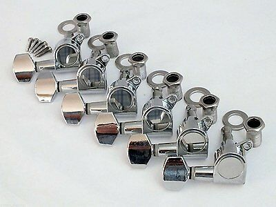 6 x CHROME MACHINE HEADS pegs electric guitar strat tele style tuners 6 IN LINE