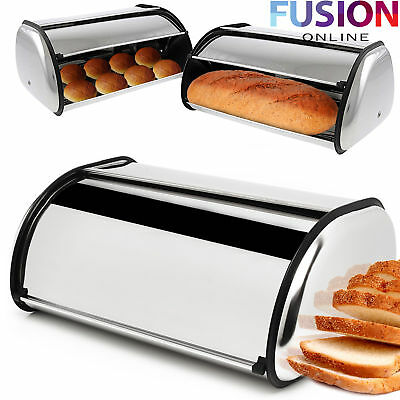 Large Bread Bin Roll Top Loaf Storage Box Stainless Steel