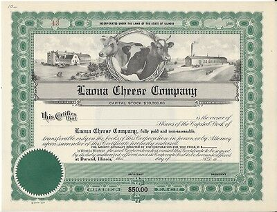 Laona Cheese Company (Durand Illinois)...unissued Stock Certificate