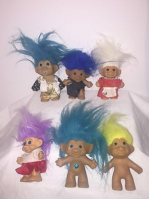 Lot of 6 1980s-Early '90s Russ Troll Dolls - Rare