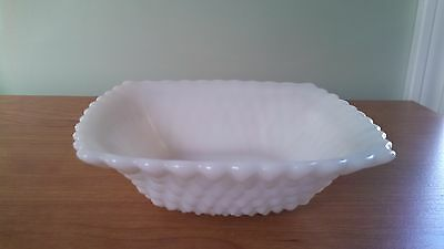 White Milk Glass Hobnail Square Bowl Candy Nut Dish Vintage