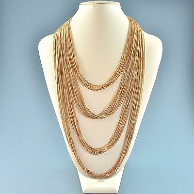 Vintage Necklace Long 1980s Goldtone Multiple Chains Swags Bridal Jewellery