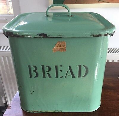 Vintage English Green Enamel Bread Bin with Black Lettering and Trim.