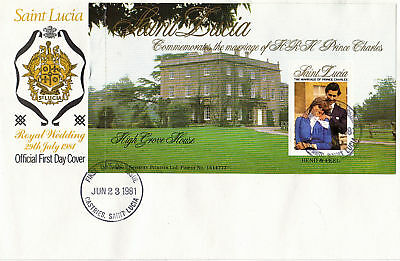 St LUCIA 1981 ROYAL WEDDING BOOKLET PANE FIRST DAY COVER