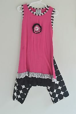 Girls Boutique Size 5 Outfit Pink Black Polka Dot Pants Tank Top Dressy Everday