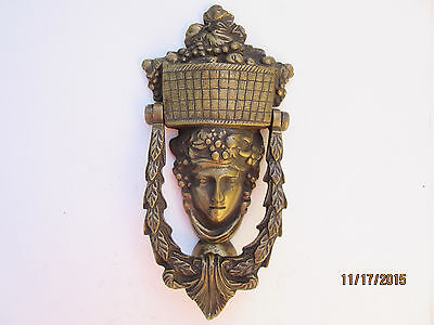 Solid Brass Knocker Maiden With Fruit And Leaves Motif