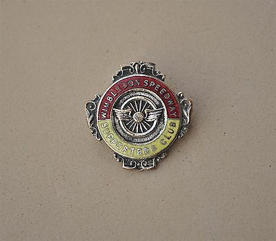 Vintage Speedway pin Badge Wimbledon Supprters club Motorcycle racing