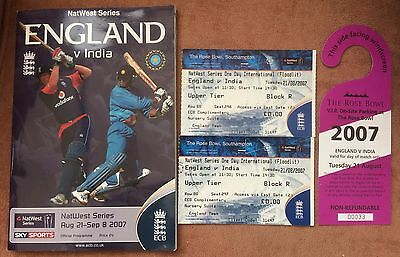 ENGLAND v INDIA CRICKET PROGRAMME - NATWEST SERIES OF 2007 + TICKETS & CAR PASS
