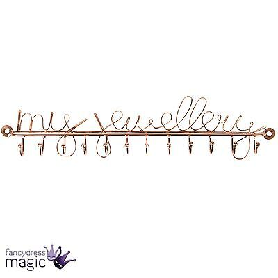 *Sass & Belle Copper My Jewellery Necklace Holder Hooks Row Of 12 Home Storage*