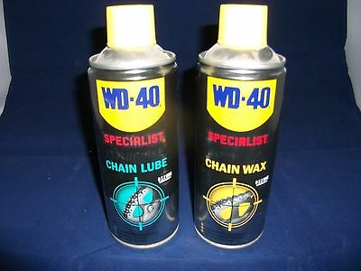 WD40 Motorbike Chain Lube 400ml & Chain Wax 400ml