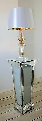 80 cm Frosted Diamond Crush Mirror Pedestal Side Lamp Table Plant Stand Pillar