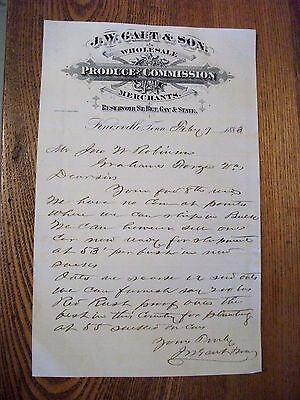 """LOOK! 1883 Letter Head """"J.W. GAUT & SON"""" Produce Merchants-Knoxville,Tennessee"""