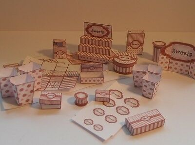 dolls house miniature sweet shop, confectionery, chocolate display items & boxes