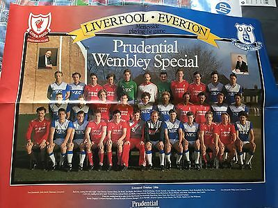 Everton & Liverpool Football Clubs Poster. Dalglish Kendall 1986 FA Cup Final
