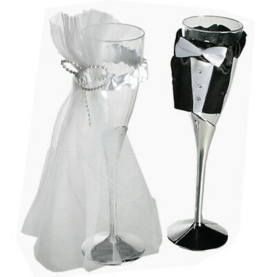 Wedding Bride And Groom Toasting Champagne Flutes Glasses Art Deco Gift 22Cm New
