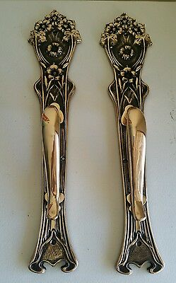 Awesome Huge Cast Bronze Victorian Art Nouveau Door Handles Over 20 Inches Tall