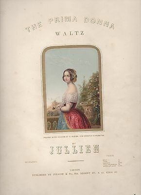 Illustrated music sheet, cover by George Baxter, THE PRIMA DONNA WALTZ