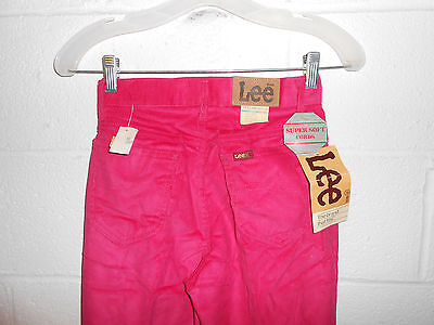 "Vintage 80s 90s Pink Lee Corduroy High Waisted Pants Girls 14 Slim NWT 24""x31"""
