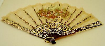 Vintage Ladies Fan with Lace and Tortoise Shell Handles