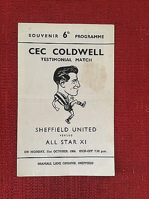 Cec Caldwell Testimonial Programme, Sheffield United v All Star XI 1966