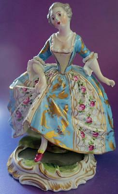 Antique Sevres French Porcelain Figurine Lady With Mirror In Base
